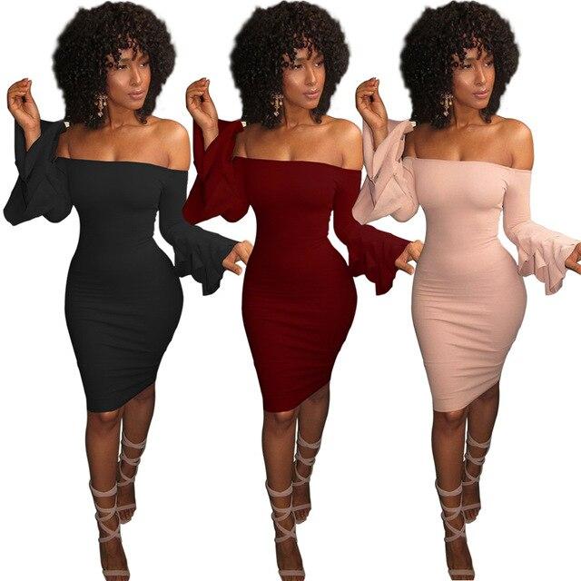a76bdba960 US $8.16 25% OFF 2019 Autumn Dresses Robe Sexy Off Shoulder Slim Bodycon  Dress Flare Sleeve Black Pink Dress Women Midi Party Dress Vestidos-in ...