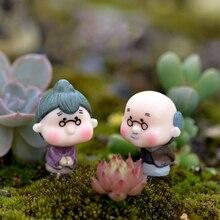2Pcs Pastoral Happy Grandparents Dolls Home Pots Miniature Decoration Grandpa/Grandma Fairy Garden Ornaments Figurine Decor F17