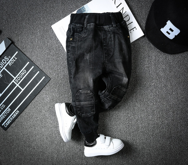 2017 new spring and autumn new stretch jeans boy pants boys jeans Slim Korean version of casual knit patchwork trousers