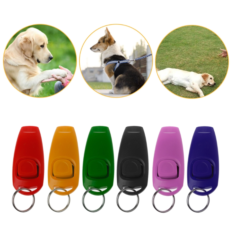 NEW Dog Training Whistle Clicker Pet Dog Trainer Aid Guide Key Chain For Dog Supply