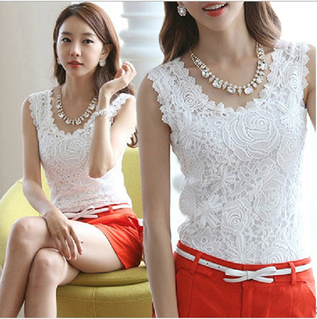 b9264be28207a Plus Size 4XL 2018 Women flower Lace Blouse Casual Blusas Femininas Vintage  Sleeveless White Renda Crochet