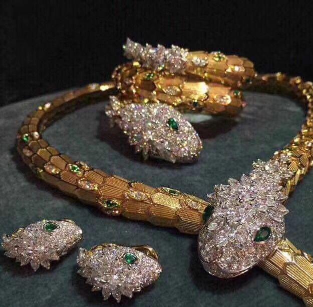a2f8dbf565 Fashion brand replica jewelry AAA cubic zirconia snake necklace jewelry set,zircon  earrings,three layer snake bangle&bracelet