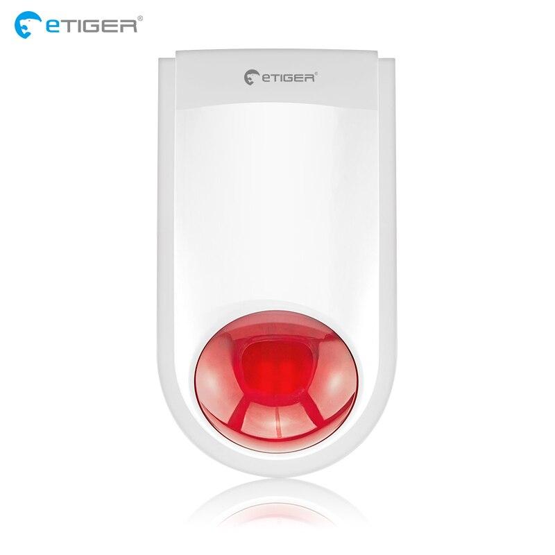 ETiger J008 Sirène D'alarme Sans Fil En Plein Air Externe Flash LED Lumière stroboscopique Sirène Pour Système D'alarme Anti-Intrusion Cambrioleur S4 S3B V2