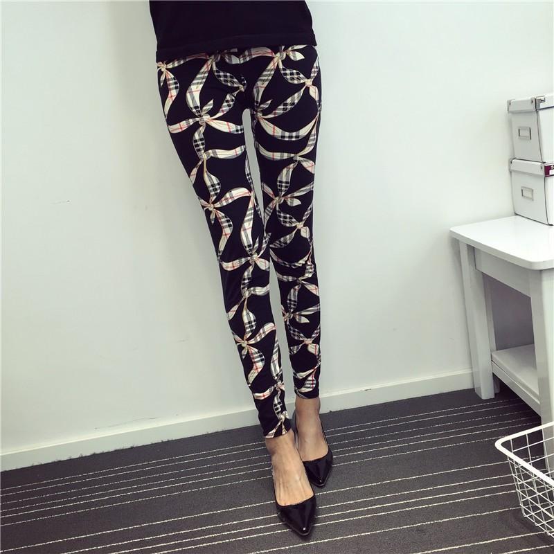 BIVIGAOS Spring Summer Womens Fashion Black Milk Thin Stretch leggings Colored Stars Graffiti Slim Skinny Leggings Pants Female 42