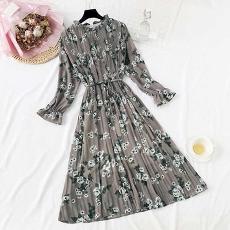 Шифоновое винтажное летнее платье с высокой эластичной талией, ТРАПЕЦИЕВИДНОЕ Стильное женское клетчатое платье с длинным рукавом и цветочным принтом, приталенное платье, 24 цвета, 8