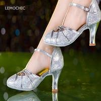 LEMOCHIC hot sale ballroom dance latin cha cha jazz tango sanba belly high heels female models performance classical dance shoes