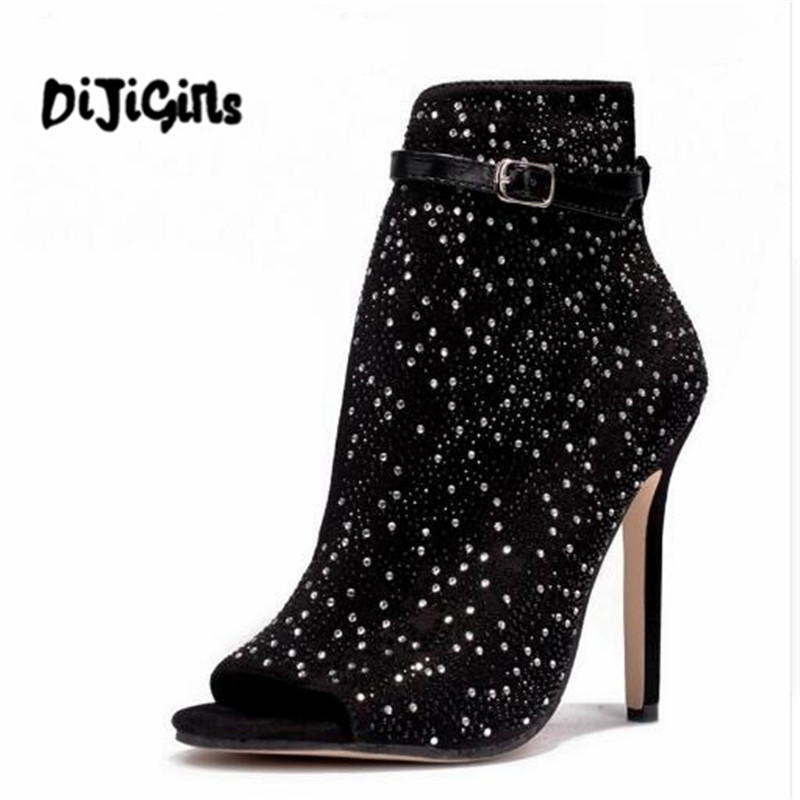 Women Sandals High Heels Crystal Brand Design Sexy Peep Toe Gladiator High Heels Rhinestone Buckle Strap Party Shoes 2017 summer sweet girl pink floral rhinestone buckle strap high heels women crystal sandals peep toe woman party wedding shoes