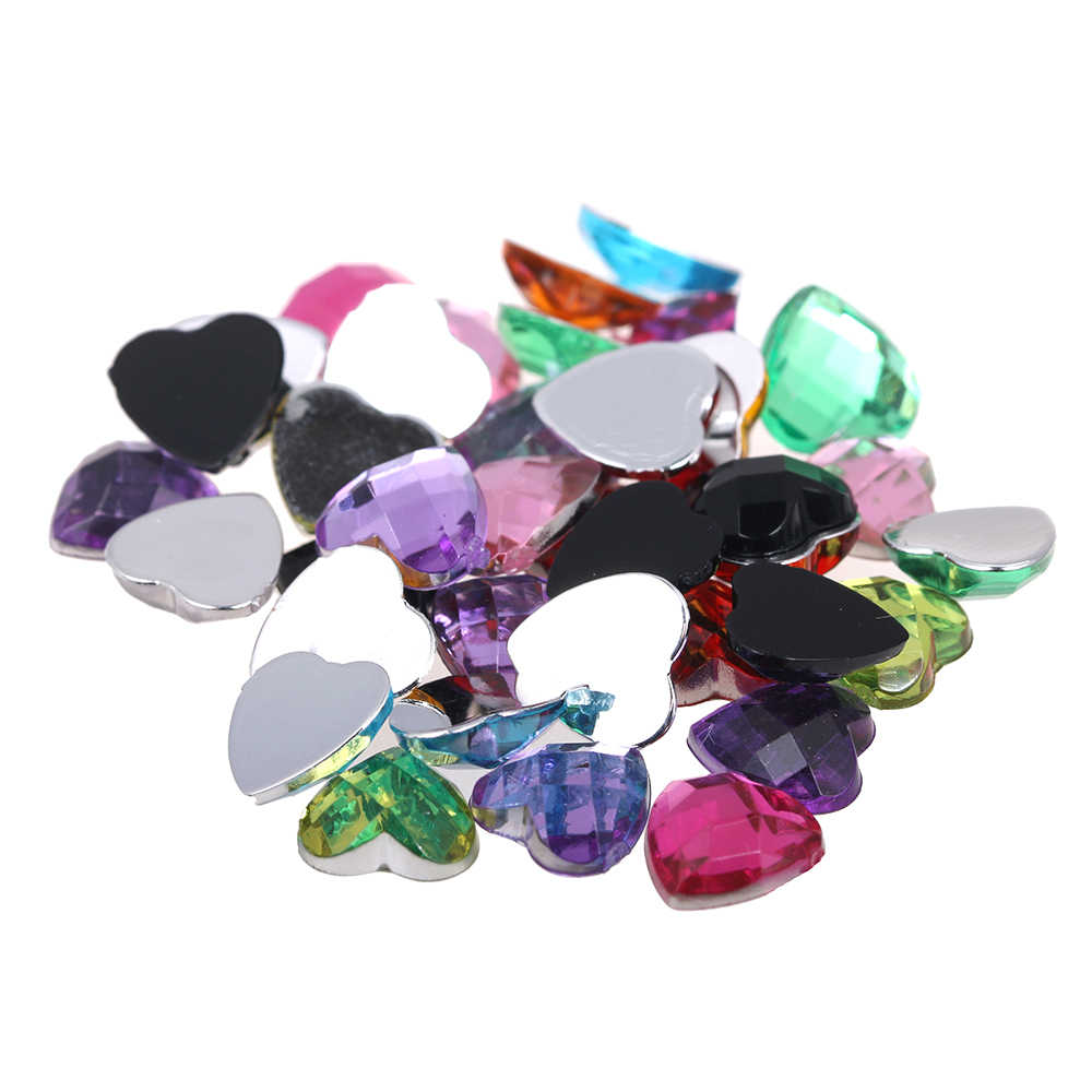 12mm 30pcs Many Colors Acrylic Rhinestones Flatback Heart Earth Facets Glue On Beads DIY Crafts Wedding Dresses Decorations