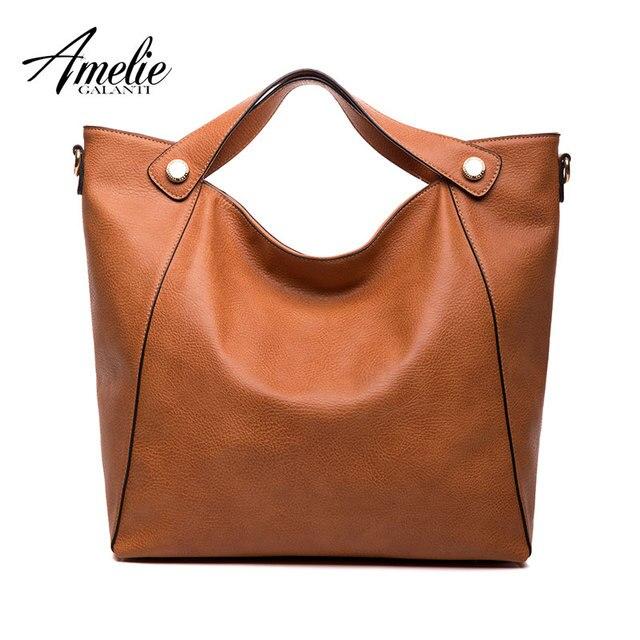 AMELIE GALANTI стильный трапеция для женщин сумки твердые искусственная кожа мягкая сумки через плечо для 2018 на молнии