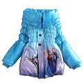 Girls Winter Jacket Coat Snow Queen Down Parkas Cotton-padded Clothes Children Girls Winter Coat Thick Long Cotton Outerwear C50