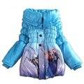 Niñas chaqueta de invierno capa Snow Queen abajo Parkas de algodón acolchado ropa niños chicas abrigo de invierno largo grueso de algodón prendas de vestir exteriores C50