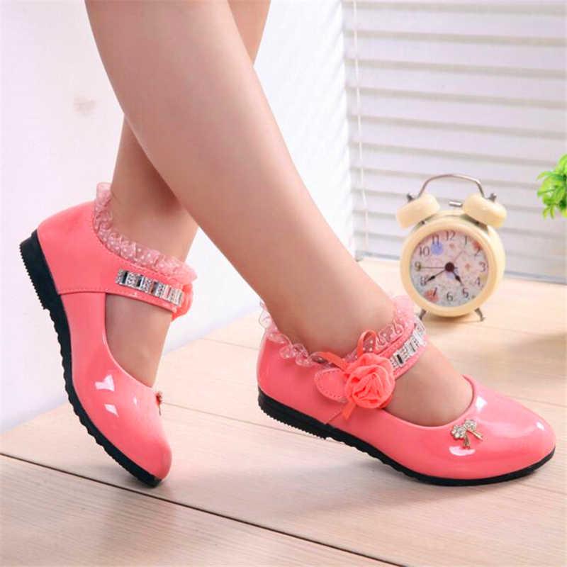 Детские элегантные босоножки принцессы для девочек свадебные туфли из искусственной кожи на высоком каблуке под платье Вечерние Обувь с бусинами для девочек 4 цвета