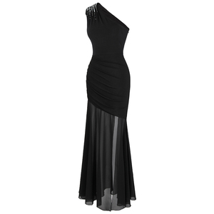 Image 3 - Angel fashions Womens One Shoulder Pleated Evening Dress Long Little Black Dresses Slit Illusion Formal Party Gown 426