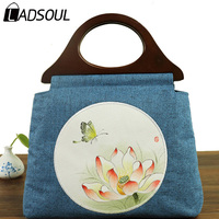 LADSOUL Handbag Cotton Fabric Chinese Style Women Handbags Vintage Hand Painted Landscape Bag Women Shoulder Handbags A5408/h