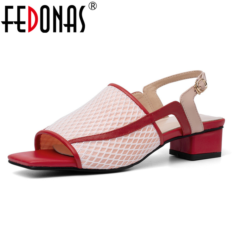 FEDONAS Summer New Fashion Sweet Genuine Leather Mesh Women Sandals Comfortable Breathable Buckle High Heels Party Shoes Woman-in Middle Heels from Shoes    1