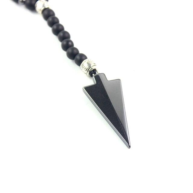 Nowy projekt matowy czarny onyks 6mm kule i hematyt koraliki 4mm długi naszyjnik z wisiorek ze strzałką moda męska biżuteria