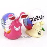 Anime One Piece Trafalgar Law + Doflamingo Den Den Mushi Telefon PVC Figuren Sammeln Modell Spielzeug 2 teile/satz 11 cm