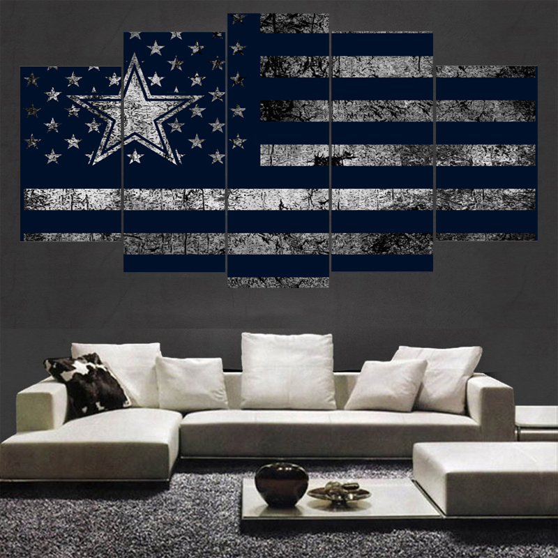 5 Pcs Sport Dallas Cowboys Poster Canvas Paintings Wall Art Oil Painting On Living Room Unframed Frame