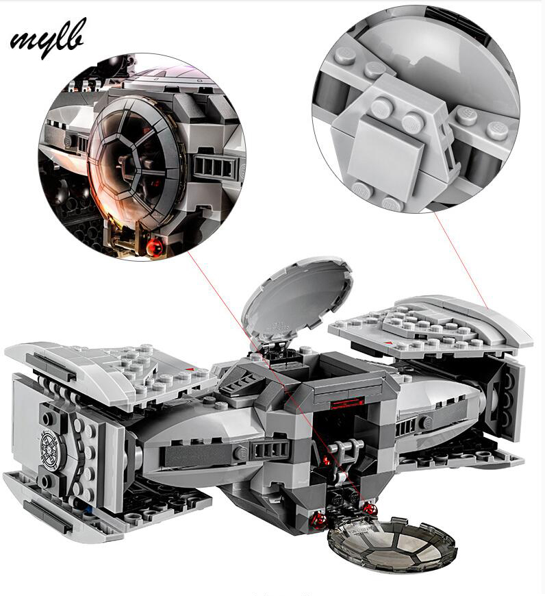 mylb Star wars model building kits compatible with city The Force Awakens TIE Advanced Prototype fighter blocks drop shipping цены