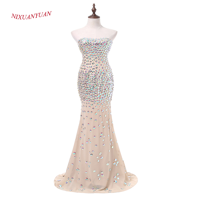 NIXUANYUAN New Custom Made Champagne Chiffon Mermaid   Prom     Dress   2017 Luxury Crystal Party   Dress   Long vestidos de baile Backless