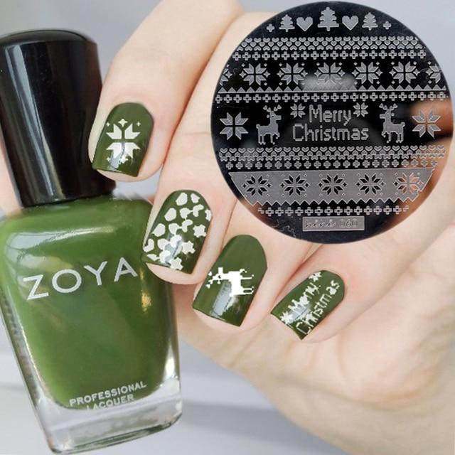 30 pcs christmas nails design round stainless steel nail plates hehe series nail art image konad - Christmas Nail Art Gallery