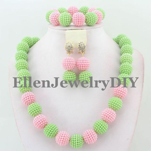 Nova Nupcial Do Casamento Africano Conjunto de Jóias De Casamento Dubai Bola Beads Beads Africanos Conjunto de Jóias de Moda Feminina Frete Grátis W13567