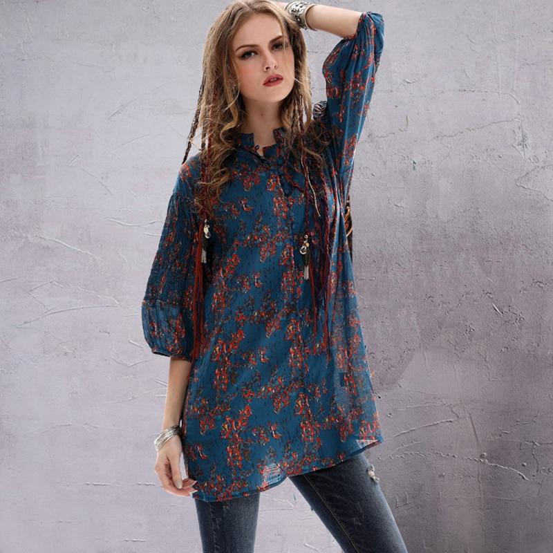 Femmes Trois 2017 Et D'été Floral Nouvelles Lin Blouses Trimestre Imprimé Blouse Blusas Vintage B9519 Stand Manches Coton Col qEEH1w