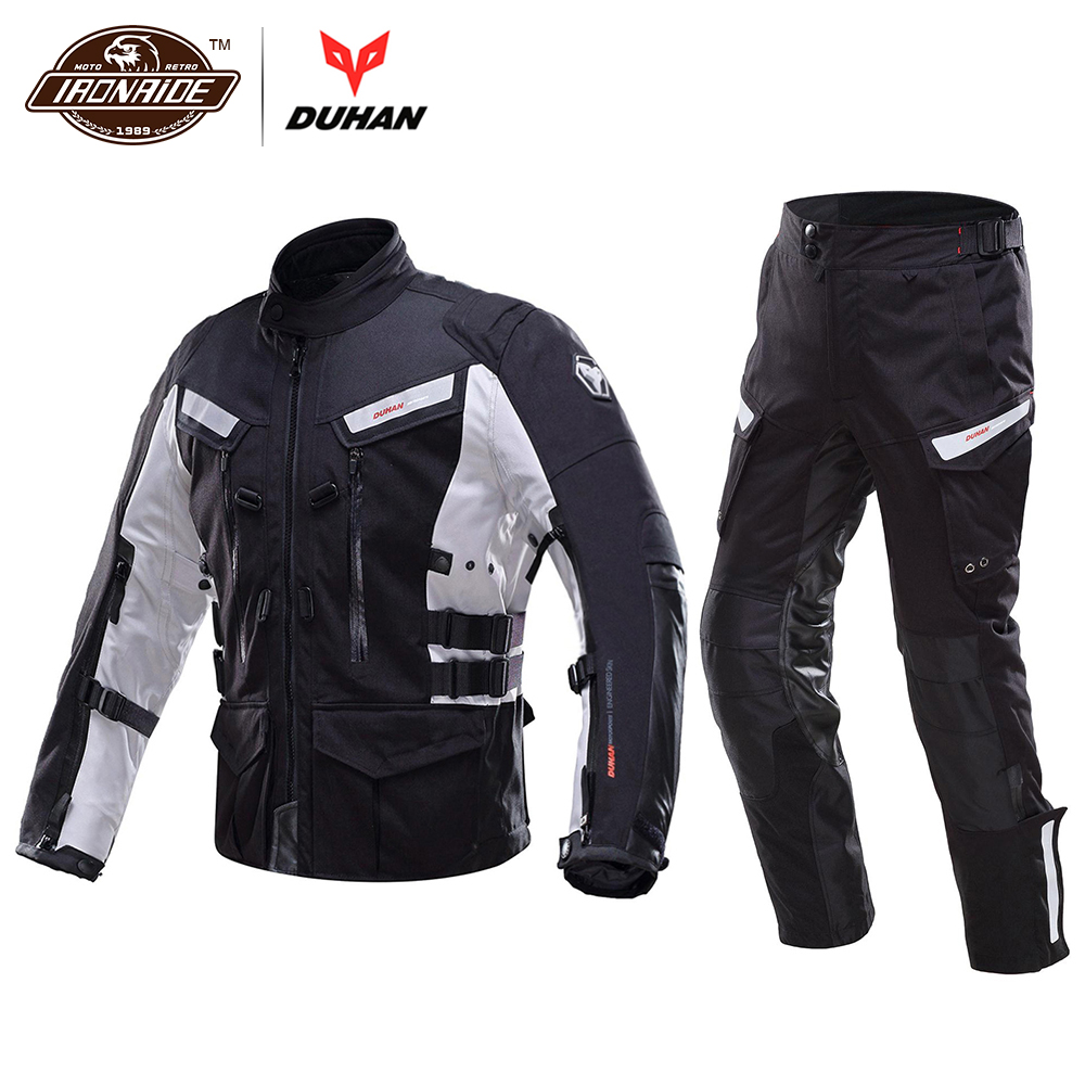 DUHAN Men Rally Motorcycle Jacket Touring Suit Waterproof Cold-proof Moto Jacket + Motorcycle Pants Clothing Set Protective Gear scoyco waterproof riancoat suit reflective motorcycle clothing protective jacket waterproof moto jacket and motorcycle pants