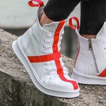 Мужские кроссовки в стиле хип-хоп, уличная танцевальная мужская кожаная повседневная обувь с высоким берцем, обувь на толстой подошве, обувь со звездами, желтая, Белая обувь на плоской подошве