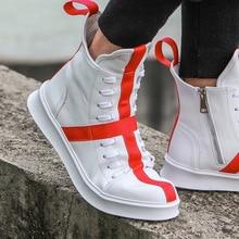 Erkekler Sneakers Hip hop sokak dansı yüksek top erkek deri rahat altı kalın ayakkabı ayakkabı yıldız sarı beyaz düz ayakkabı 2020