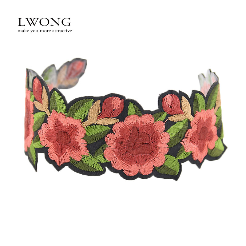 LWONG 2017 New Handmade Embroidered Floral Statement Choker Necklace Sexy  Boho Rose Flower Tattoo Chokers Chocker ec8afc2a5b96