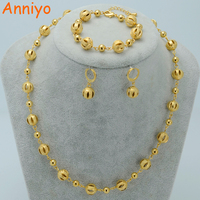 Beads Jewelry Sets Ball Necklaces Earrings Bracelet 18k Gold Plated Beaded Necklace Women Arab Jewelry Africa