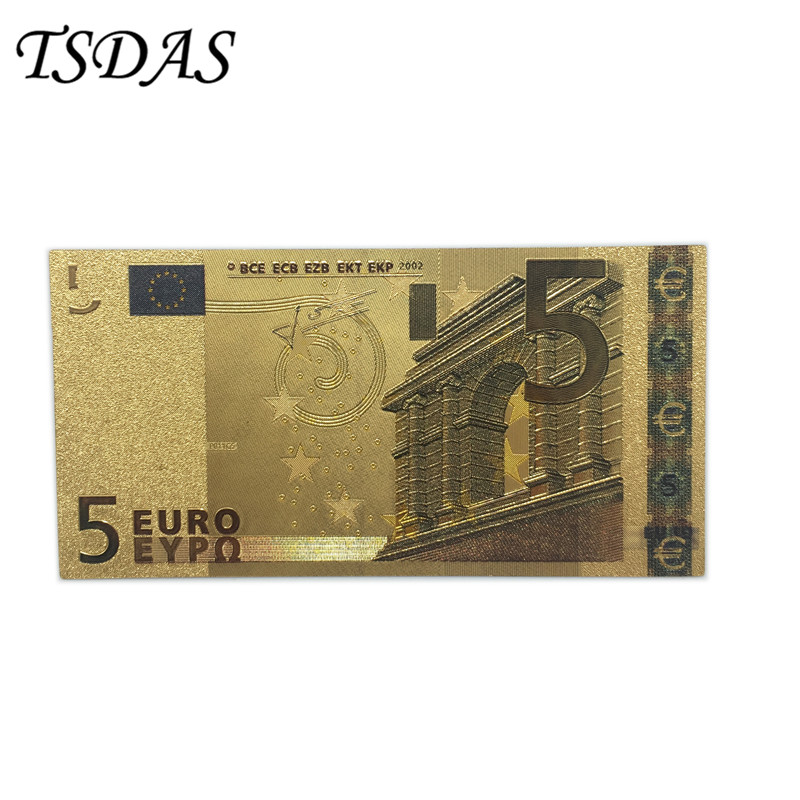 10pcs/lot Colored Euro Banknotes 5 EUR Gold in 24K Plated for Souvenir