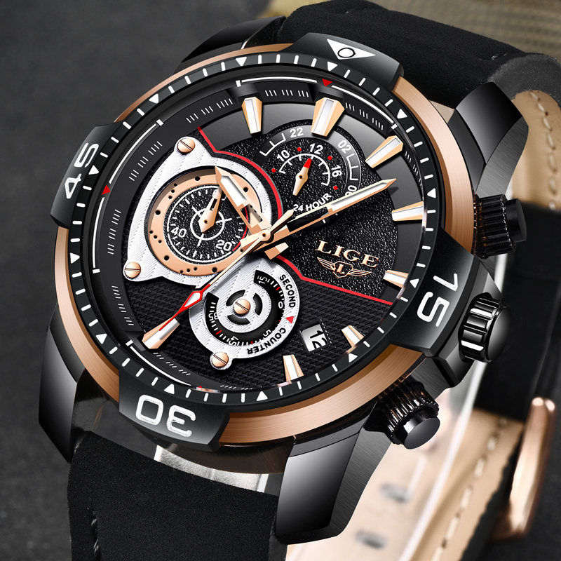 Erkek Kol Saati LIGE Business Leather Men Watch Mens Watches Top Brand Luxury Quartz Gold Watch Men Waterproof Sport Wristwatch minifocus leather strap mens watches top brand luxury sport watch men waterproof male clock men s quartz watch erkek kol saati
