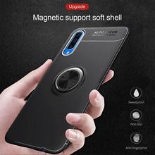 Caso Cassa del telefono Per Samsung Galaxy A50 A70 Luxurry Magnetico Anello Auto Della Copertura Molle Del Silicone Funda Per La Galassia A30 A40 un 50 Caso Capa
