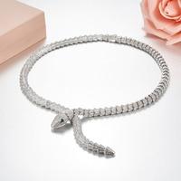 Classic designer luxury brand jewelry 925 sterling silver AAA cubic zironia snake necklace,women fine green gems snake logo BV