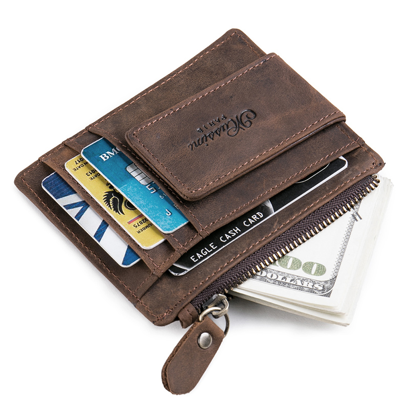 Teemzone Women Men Zipper Wallet Pengar Clip Magnetisk Clip Ultrathin - Plånböcker - Foto 1