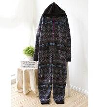 Adult Onesie Women Winter Fleece Ladies Onesie Long Sleeve Hooded Women's Sleep Lounge Pajama Sets