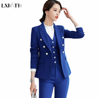 LXMSTH 4XL 5XL Ladies Formal Blazers Plus Large Size Women Double Breasted Solid Office Work Casual Blazer Jackets Feminine