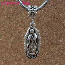 50pcs/lot Virgin Mary Charm Big Hole Dangle European Beads Antique silver Fit Bracelet Jewelry DIY 12.5x31mm A-379a
