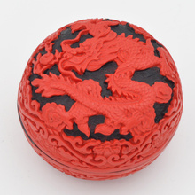 Exquisite Chinese Flower Red Cinnabar Lacquer Dragon Auspicious Jewelry Box exquisite chinese flower red cinnabar lacquer beautiful flower auspicious jewelry box