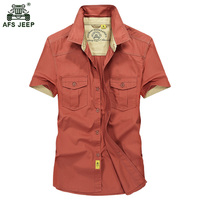 2017 New Cotton Comfortable Male Casual Shirt Men Army AFS JEEP Shirts Short Sleeve Military Shirt