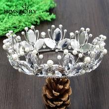Vintage Luxurious European&American Style Handmade Large Round Crystal Beads Pearl Princess Bridal Hair Crown