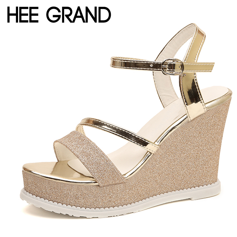 HEE GRAND 2018 Buckle Strap Wedges Women Sandals Sliver Gladiator Platform Beach Shoes Sexy Woman Sandal XWZ4623 hee grand casual wedges sandals 2017 summer beach women shoes platform buckle comfort creepers fashion shoes woman xwz3812