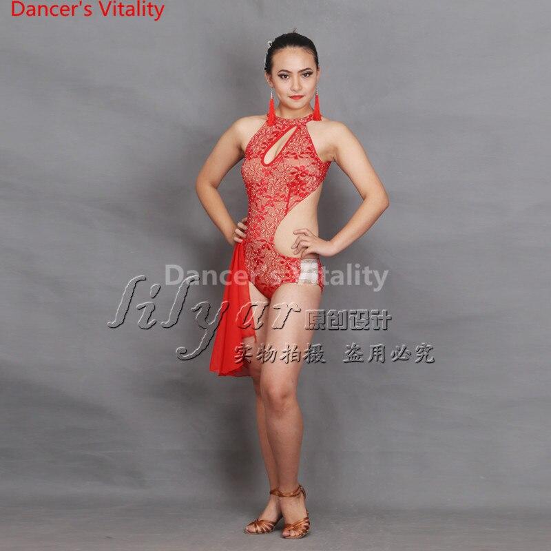 best service bac57 36905 US $54.36 11% di SCONTO|2018 Abiti Da Ballo Latino colore rosso Lulu  Vestito Da Ballo Salsa Dance Body Donne Delle Ragazze Delle Signore Latino  Cha ...