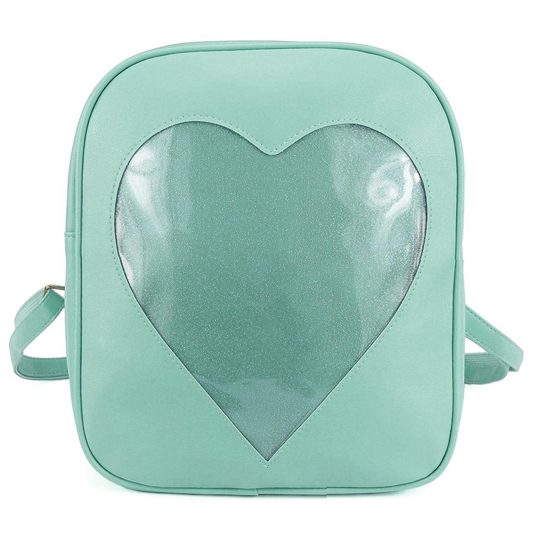 LJL Clear Candy Backpacks Transparent Love Heart School Bags for Teen Girls Kids Purse Bag(Green)