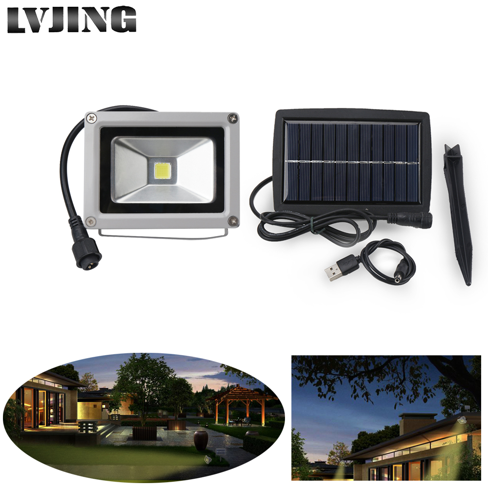 10W LED Solar Light Outdoor led Floodlight Solar Lights For Garden Decoration Warm white/White Spotlight Flood Light Waterproof yj 2338w 3w 350lm 6000k 60 led white light solar powered spotlight white 3 7v