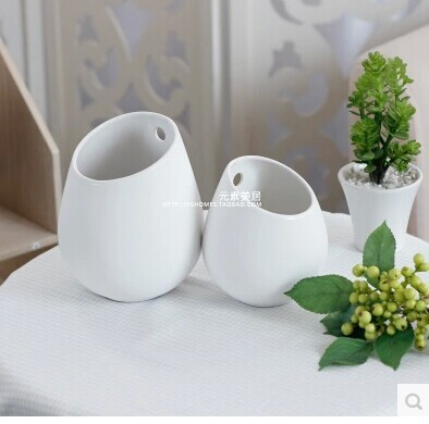 free shipping top selling ikea meiju series ceramic white vase wall meat flower pot in vases. Black Bedroom Furniture Sets. Home Design Ideas