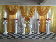 Shiny Gold Wedding Backdrop with Swag Wedding Drape Wedding stage curtain Background Decor