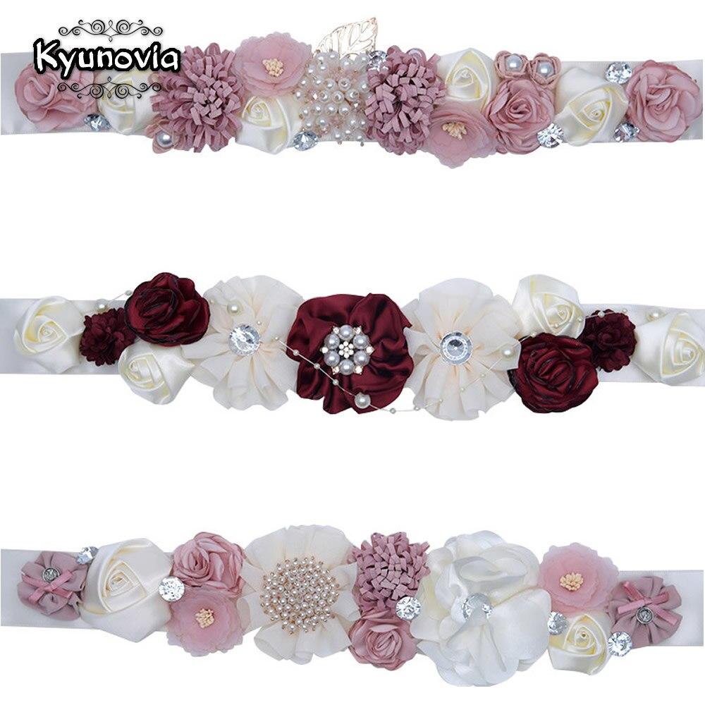 Kyunovia vestido fajas Blush marfil nupcial de poliéster de moda de la flor de las mujeres cinturón de maternidad flor chica boda fiesta cinturones D07